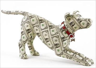 Un chien créé à l'aide de billet de banque - Art et Argent
